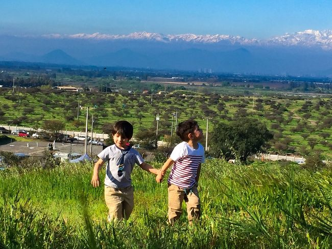 Friends Boys Real People Mountain Nature Togetherness Day Sky Outdoors Childhood Landscape Friends Family Nature Pet Portraits