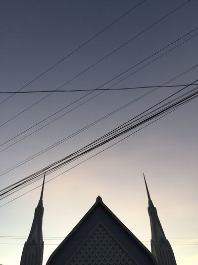 Iglesia ni Cristo Church Built Structure Sky Architecture Building Exterior Low Angle View No People Building Nature Religion Sunset Clear Sky Silhouette Place Of Worship Roof The Past Triangle Shape Outdoors