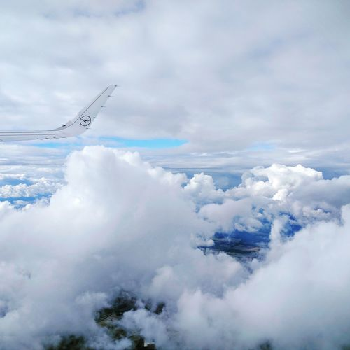 Flying Cloud - Sky Cloudscape Cloud Airplane Sky Air Vehicle Transportation Mode Of Transport White Beauty In Nature Scenics Day Aerial View Tranquility Tranquil Scene Nature Majestic Softness Outdoors