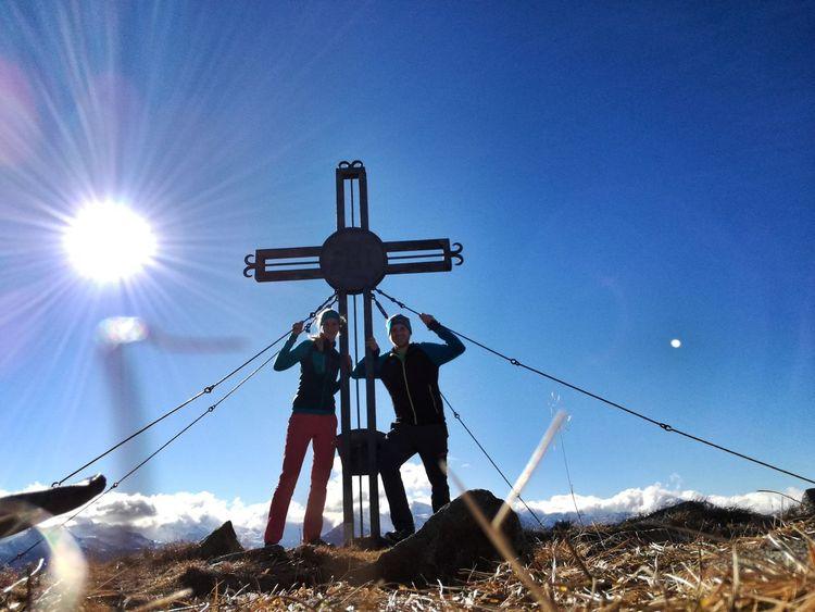 Herbst 😍 Outdoors Nature Happy Gipfelkreuz Outdoors Togetherness Hike Wanderlust Blue Clear Sky Sky
