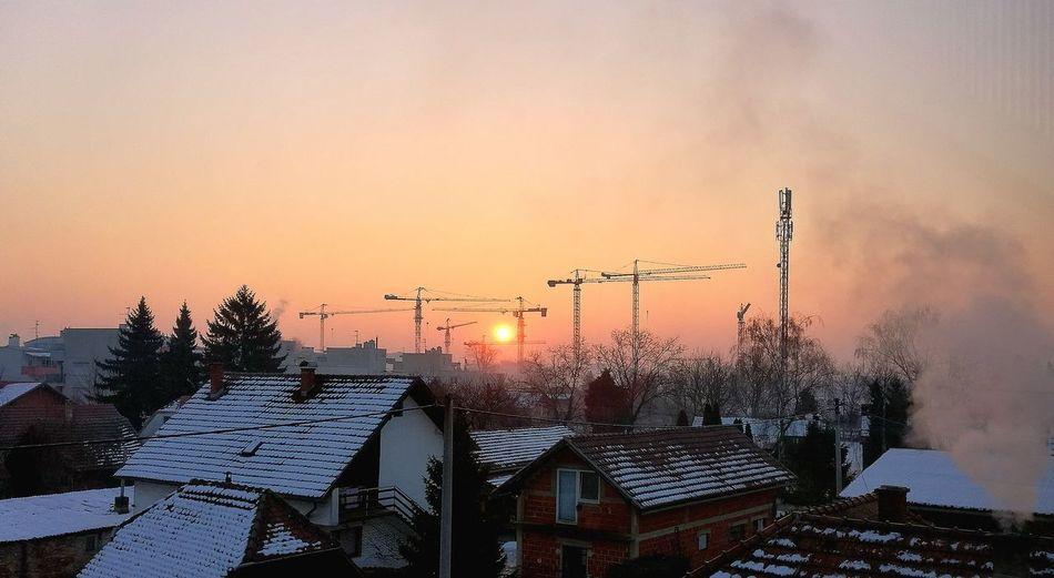 Sunrise Dramatic Sky No People Outdoors Buiding Contruction Rise Of Sun FreshonEyeem Croatia Zagrebcity Zagreb City