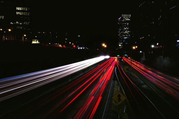 Long Exposure Illuminated Night Light Trail Motion Transportation Speed Road High Angle View Blurred Motion Red Street Tail Light City Lit Outdoors The Way Forward Busy City Life Rush Hour