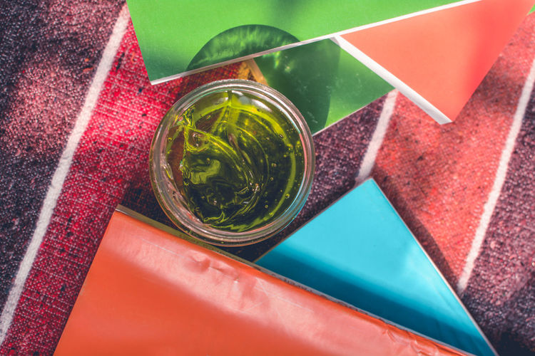 High Angle View Indoors  Directly Above Drink No People Close-up Table Red Green Color Refreshment Still Life Glass Food And Drink Drinking Glass Container Multi Colored Paper Day Food Transparent