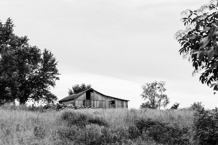 Architecture Barn Blackandwhite Building Exterior Built Structure Country Countryside Day Field House Low Angle View Nature No People Outdoors Sky Tree