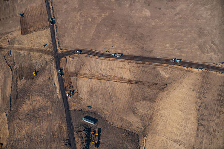 High angle view of construction site on road