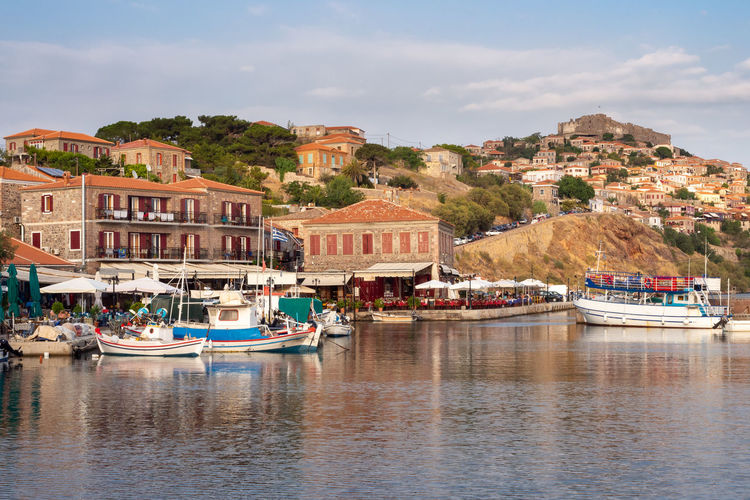 Outdoors Greece Lesvos Lesbos Island Greek Islands No People Water Vacations Holiday Architecture Travel Building Waterfront Molyvos Fishing Village Harbor Town Village Greek Moored Fishing Boat