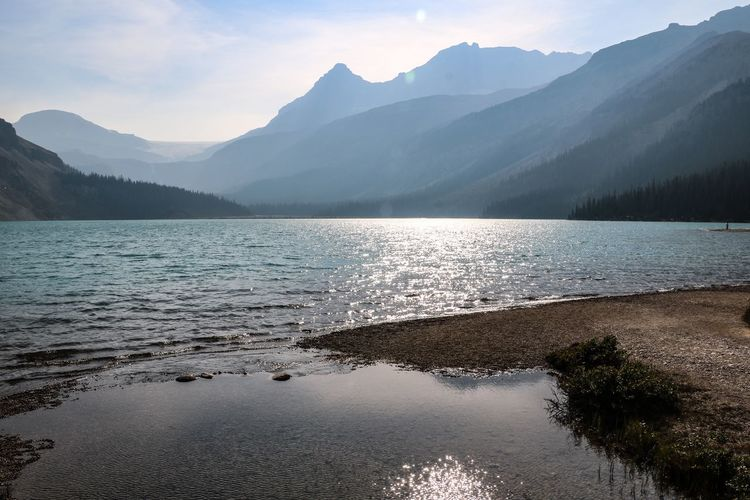 Water Mountain Beauty In Nature Scenics - Nature Tranquil Scene Tranquility Mountain Range Nature Lake No People Idyllic Reflection Bow Lake Canada Banff National Park