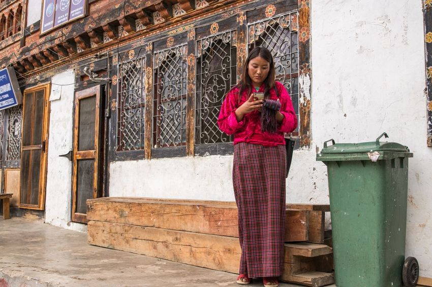 No mobile, no life. Street Photography Travel ASIA Himalayas Town EyeEm Selects Architecture One Person Looking At Camera Happiness Traditional Clothing Emotion Adult Females Clothing Portrait Women Outdoors