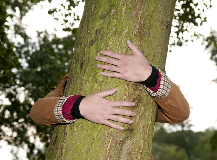 Woman embracing tree trunk in park