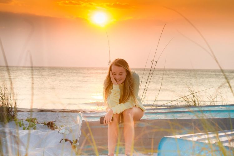 Sunset beauty Beach Sunset Canonphotography Beach Photography Florida Blond Girl My Girl