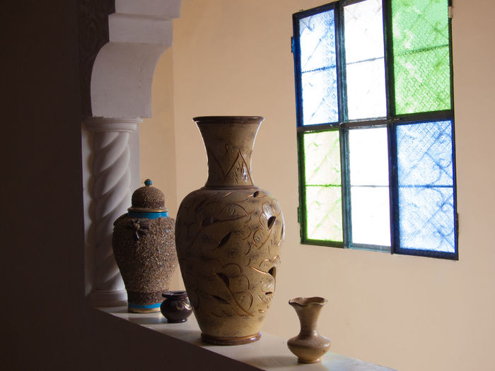 tiskji,immouzer,agadir,morocco Art And Craft Art Product Bottle Craft Creativity Day Horizontal Indoors  Multi Colored No People Pottery Shadow Workshop