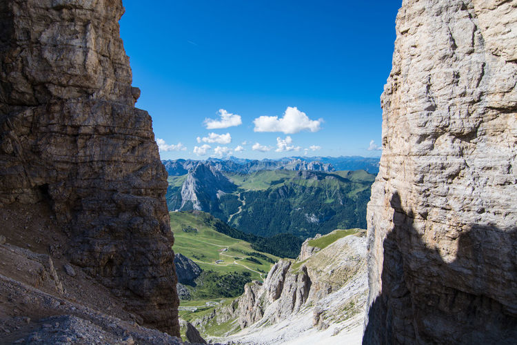 Scenic View Of Dolomites Against Blue Sky