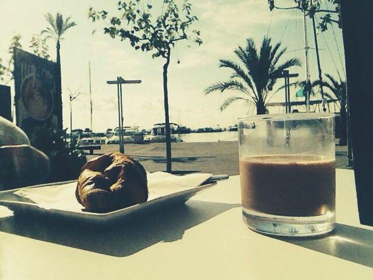 Breakfast Bellavista Harbour Boats Croasant Colacao Sunny Day Coffee Time Relax Chill Mallorca