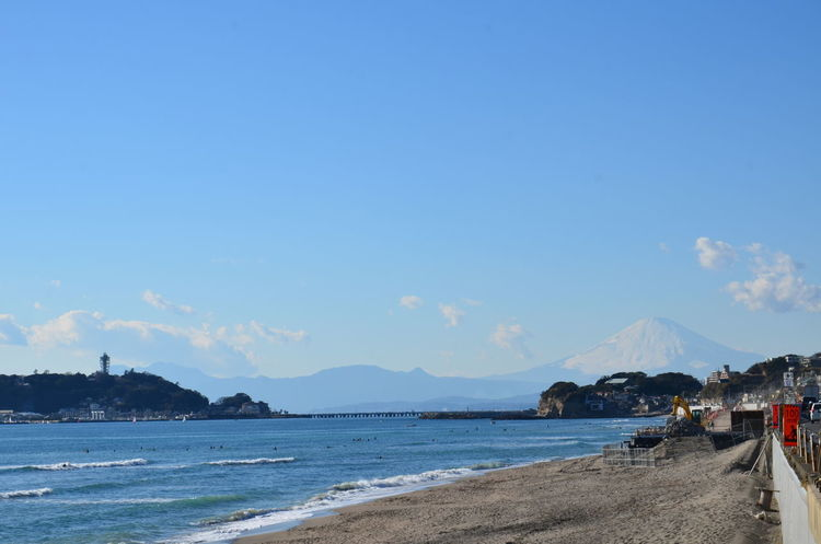 Beach Beauty In Nature Blue Mountain Nature Outdoors Japan Fujiyama