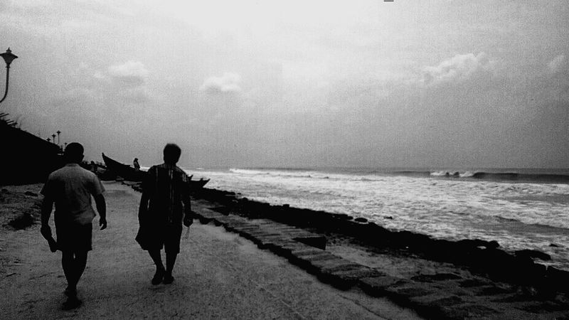 Digha beach, West Bengal.. As darkness towards light as the waves crumbles by.. Seaside Blackandwhite OpenEdit EyeEm Best Shots Silhouette The Traveler - 2015 EyeEm Awards EyeEm Best Shots - Black + White