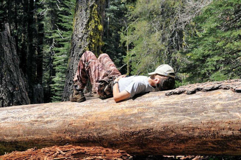 Man lying on rock in forest