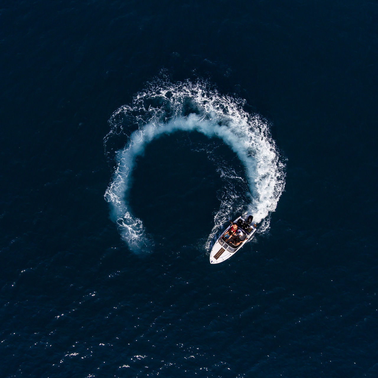 Aerial view on boat in sea