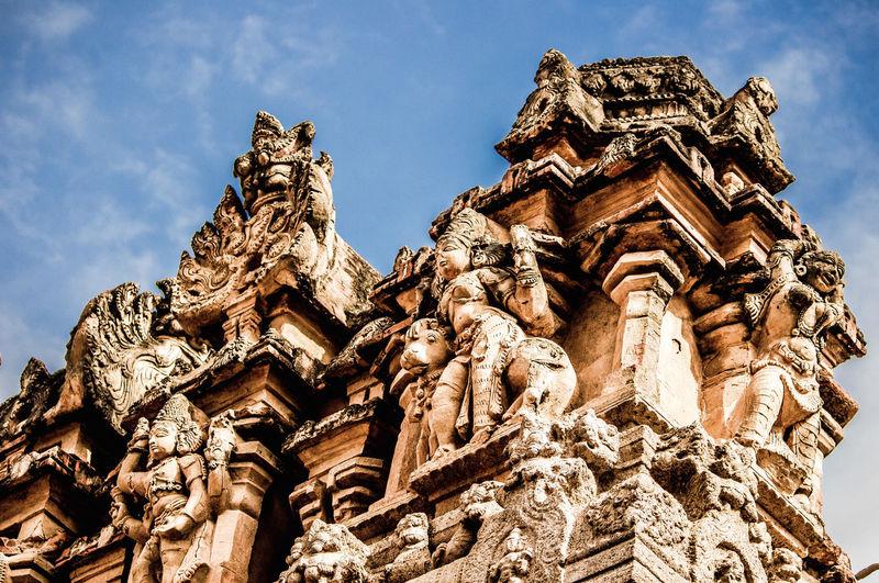 Low Angle View Of Sculptures At Brihadeeswarar Temple