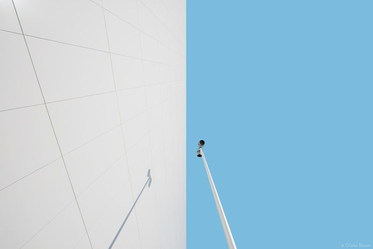 Animal Themes Art Chitecture Blue Sky Clear Sky Day Flying Low Angle View Minimal Minimal Architecture One Person Outdoors People Sky White Architecture White Wall
