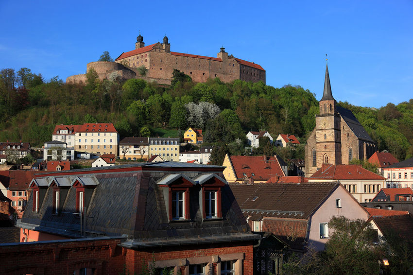 old city and castle Plassenburg of Kulmbach, Frankonia, Bavaria, Germany Plassenburg Architecture Belief Building Building Exterior Built Structure City Day Kulmbach Nature No People Old Outdoors Place Of Worship Plant Religion Residential District Roof Sky Spirituality TOWNSCAPE Tree