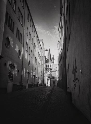 Black And White Friday Architecture Building Exterior Built Structure Sky Day Outdoors No People City Old Town Cologne Travel Destinations Streetview Romanic Architecture Romanic Church