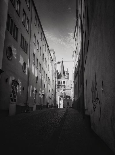 Black And White Friday Architecture Building Exterior Built Structure Sky Day Outdoors No People City Old Town Cologne Travel Destinations Streetview Romanic Architecture Romanic Church The Traveler - 2018 EyeEm Awards