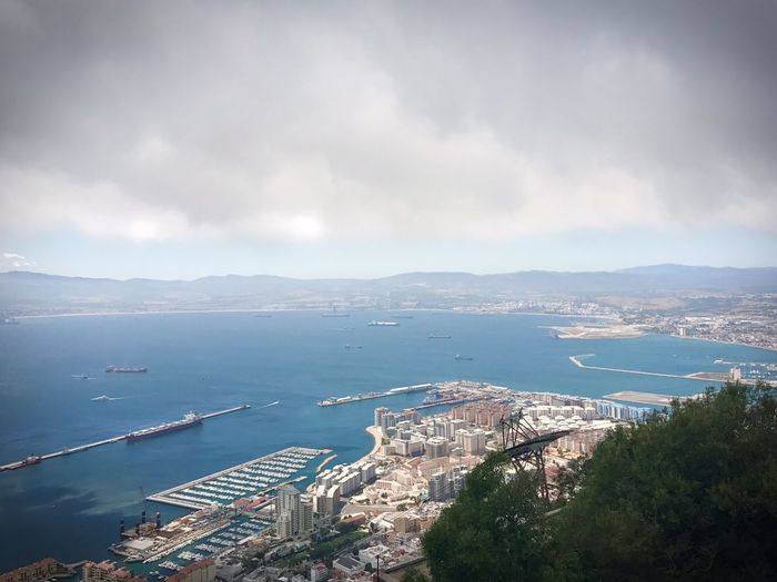 Cloudy Gibraltar Gibraltar Landscape Gibraltar Water Sea Cloud - Sky Sky Nature Architecture High Angle View Nautical Vessel City No People Built Structure Building Exterior Harbor Mountain Beauty In Nature Outdoors
