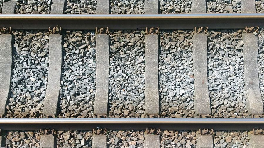 Railroad Track Rail Transportation Gravel Outdoors Day Backgrounds Close-up Train