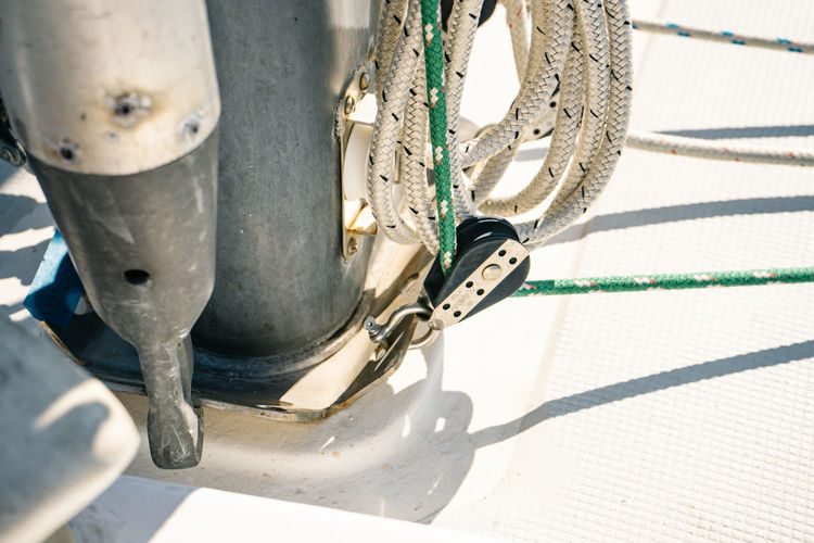 Sailing Boat Sunlight Transportation Bicycle Day Shadow Wheel Mode Of Transportation No People Metal Nature Close-up Sunny Outdoors Sport Equipment Land Vehicle Rope High Angle View Low Section Chain