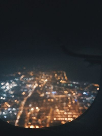 Airplane Window Airplane Wing Illuminated Night No People Outdoors Sky Cityscape Airplane City Close-up Nature