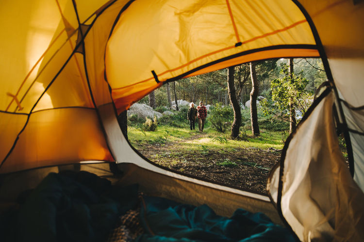 Man and woman walking on land in forest seen through tent