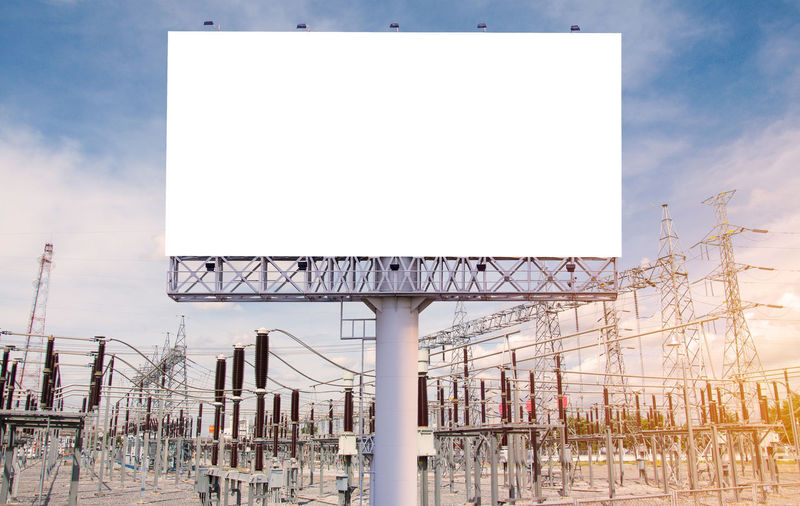 Sky Architecture Billboard Built Structure Nature No People Copy Space Blank Sport Advertisement Day Empty Outdoors White Color Building Exterior Sign Communication Clear Sky Plant Low Angle View Marketing