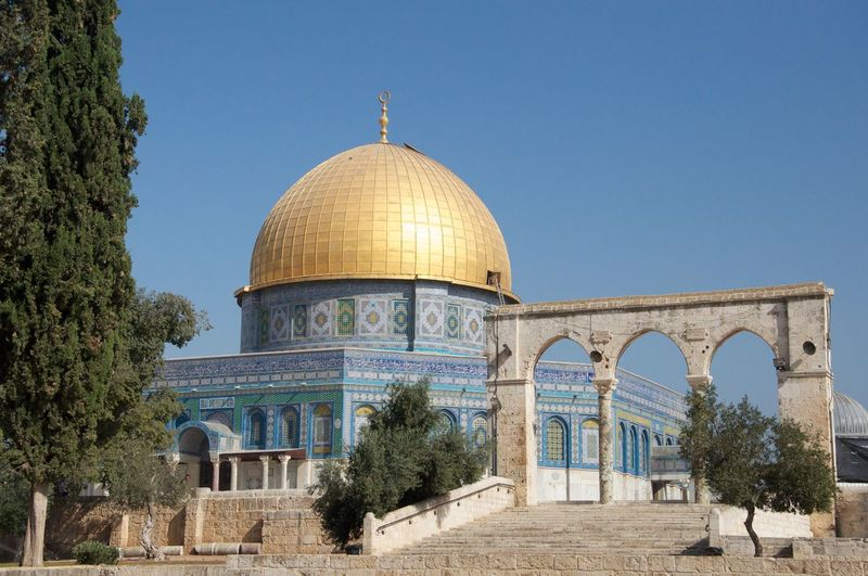 Jerusalem Israel Holy Land Temple Golden Built Structure Architecture Dome Building Exterior Sky Clear Sky Religion Nature Tree Arch Travel Travel Destinations Belief Place Of Worship Spirituality No People Building Day Outdoors Plant Jewish