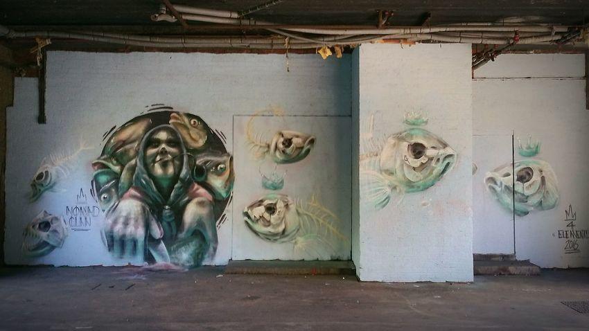 Graffiti Grimsby, Urban Arts festival Graffiti Fish Urban Art Fisherman's Wife Filleting Fish