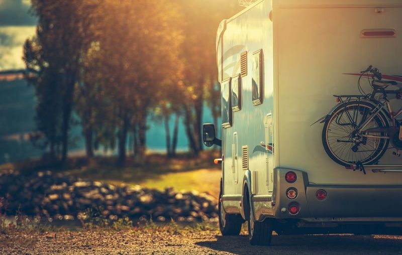 Camper trailer parked against trees
