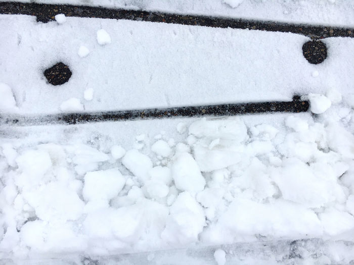 Close-up of snow covered railing
