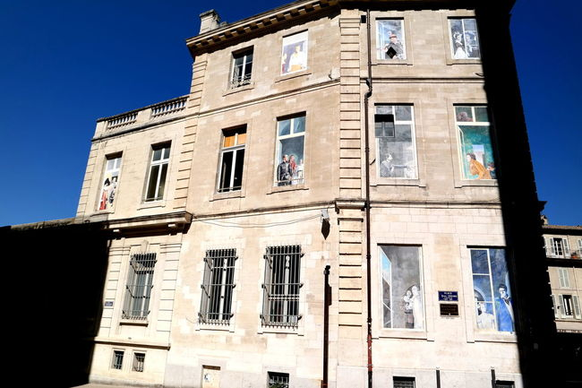 Avignon Blue Sky Building Exterior Cityscapes Façade House Painted Window Provence