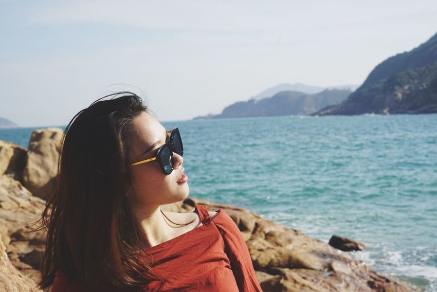 Sunglasses Real People Young Adult Young Women Nature Sea Beauty In Nature Beach Sky Lifestyles Water