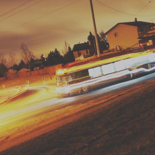 Nightimephotography Road Traffic Night Night Lights Bus Transportation