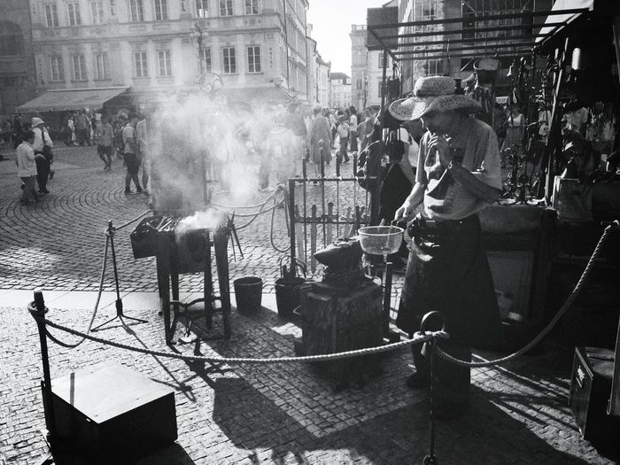 blacksmith craft for tourists Blackandwhite Prague Streetphotography Czech Republic
