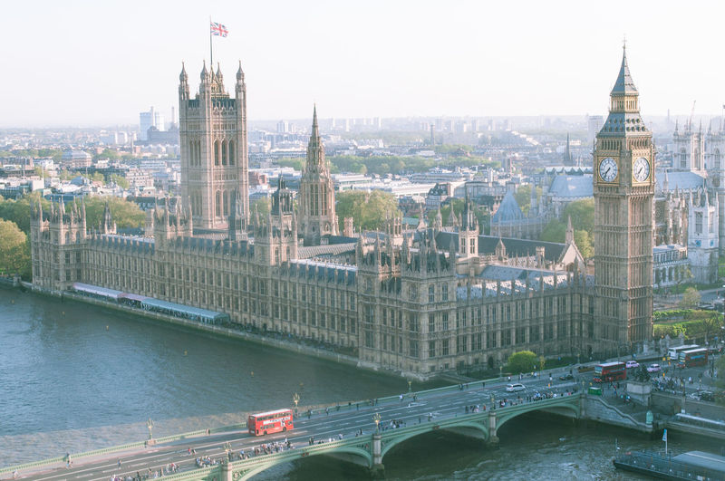 Aerial View Of Westminster Palace And Bridge With Thames River In City