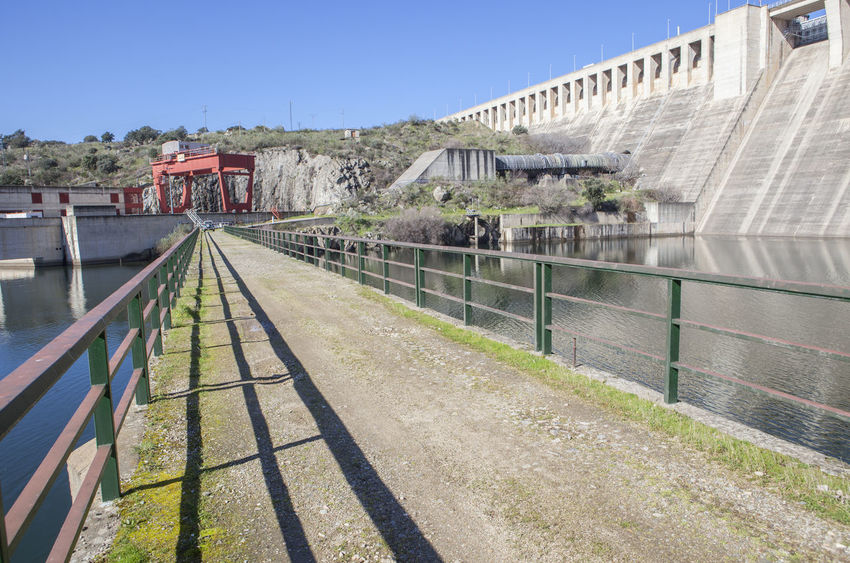 Gabriel y Galan reservoir, Caceres, Spain. Hydro-electric plant area Architecture Building Exterior Built Structure Day Nature No People Outdoors Sky Tree
