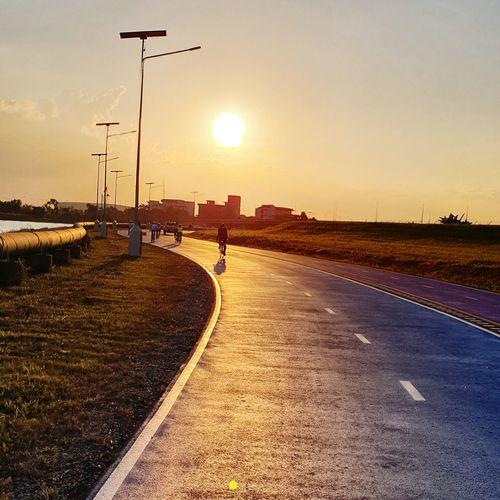 Sunset Road City Full Length Street Light Sky Bicycle Lane