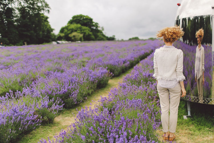 Beauty In Nature Blonde Casual Clothing Curly Hair Field Flower Fragility Freshness Girl Grass Growth Landscape Lavanda Lavande Lavander Lavander Flowers Lavanderfields Leisure Activity Lifestyles Mirror Nature Plant Rural Scene Sky People And Places Connected By Travel Fashion Stories Love Yourself