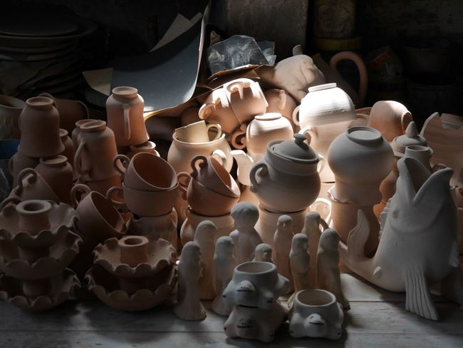 Pottery Clay Art And Craft Earthenware Craft Indoors  No People Large Group Of Objects High Angle View Tunisia Ain Drahem