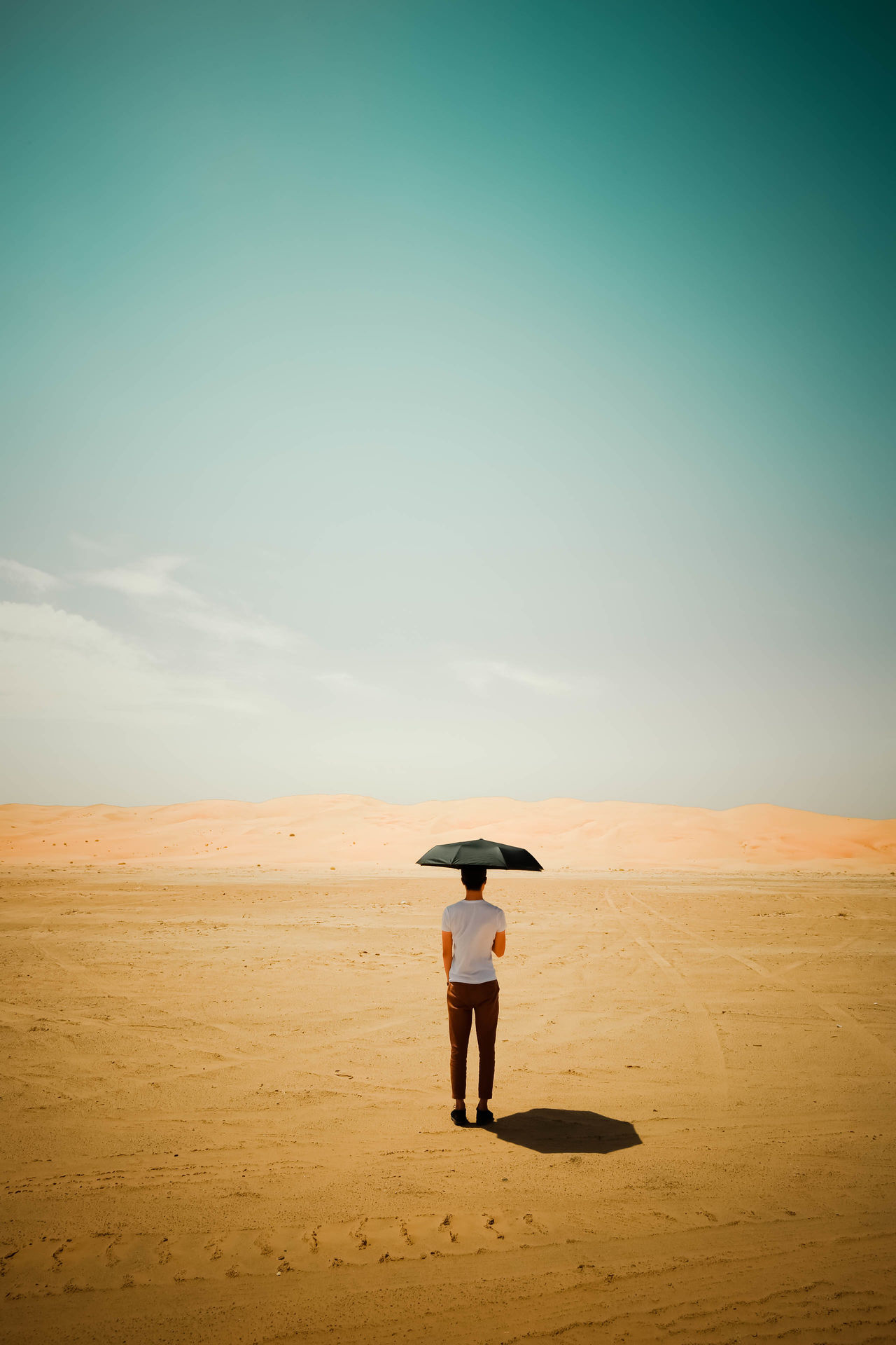 Rear view of man standing in desert with umbrella