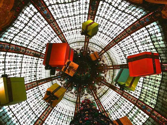 Architecture Ceiling Chrismas Decoration Christmas Presents  Close-up Colourful Consumerism Consumption  Day Decoration Fish-eye Lens Gifting Hanging Indoors  Low Angle View Modern No People Presents Presentation Background