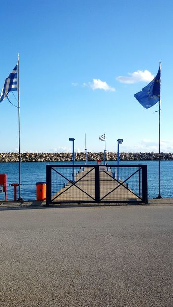 Here Belongs To Me Port Flags Greek Flag Restricted Still Life Sea Water Horizon European Flag Greece Europe