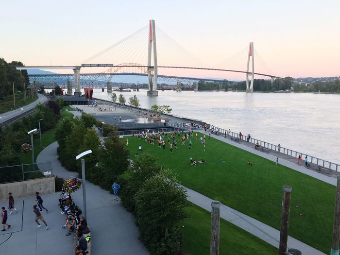 Sunset at Pier Park Patullo Bridge Skytrain Skytrain Bridge New Westminster Surrey Fraser River Front Street Basketball Volleyball