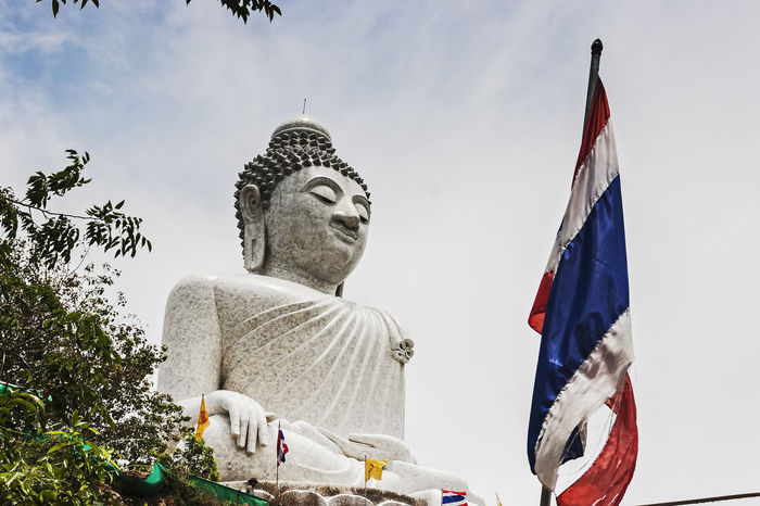 Astronomy Big Buddha Statue Big Buddha, Thailand Buddhism Day Flag Landark Low Angle View No People Outdoors Phuket Religion Sky Statue Thailand